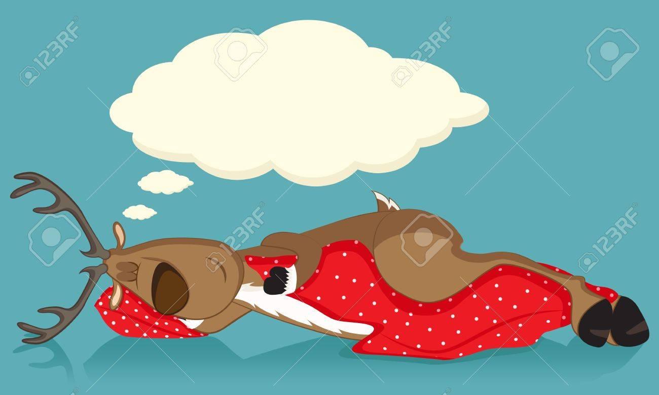 Sleeping reindeer covered with red blanket Stock Vector - 11337298
