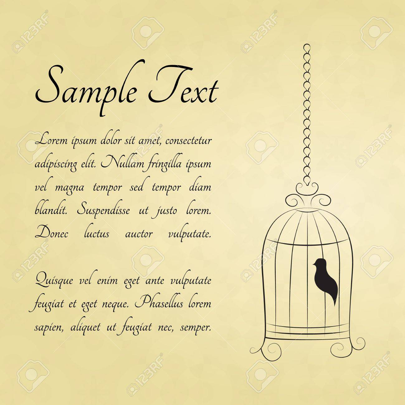 Bird in a cage card with a space for text Stock Vector - 14000316
