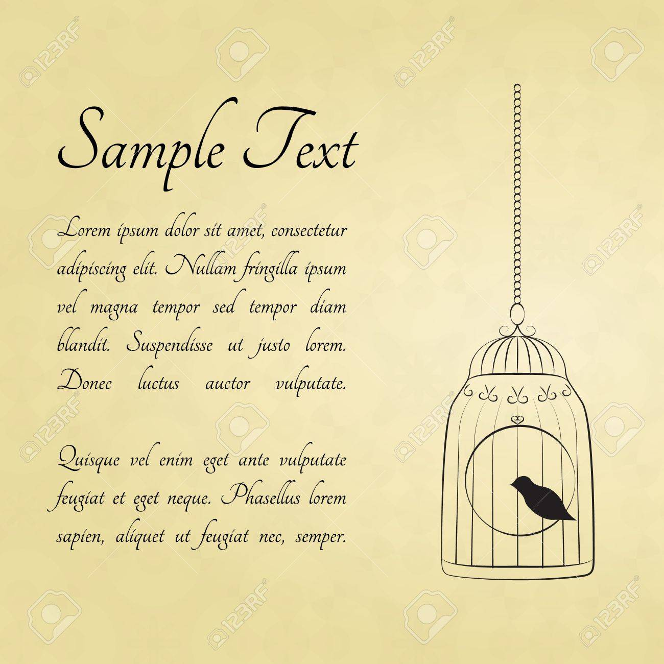 Bird in a cage card with a space for text Stock Vector - 14000319