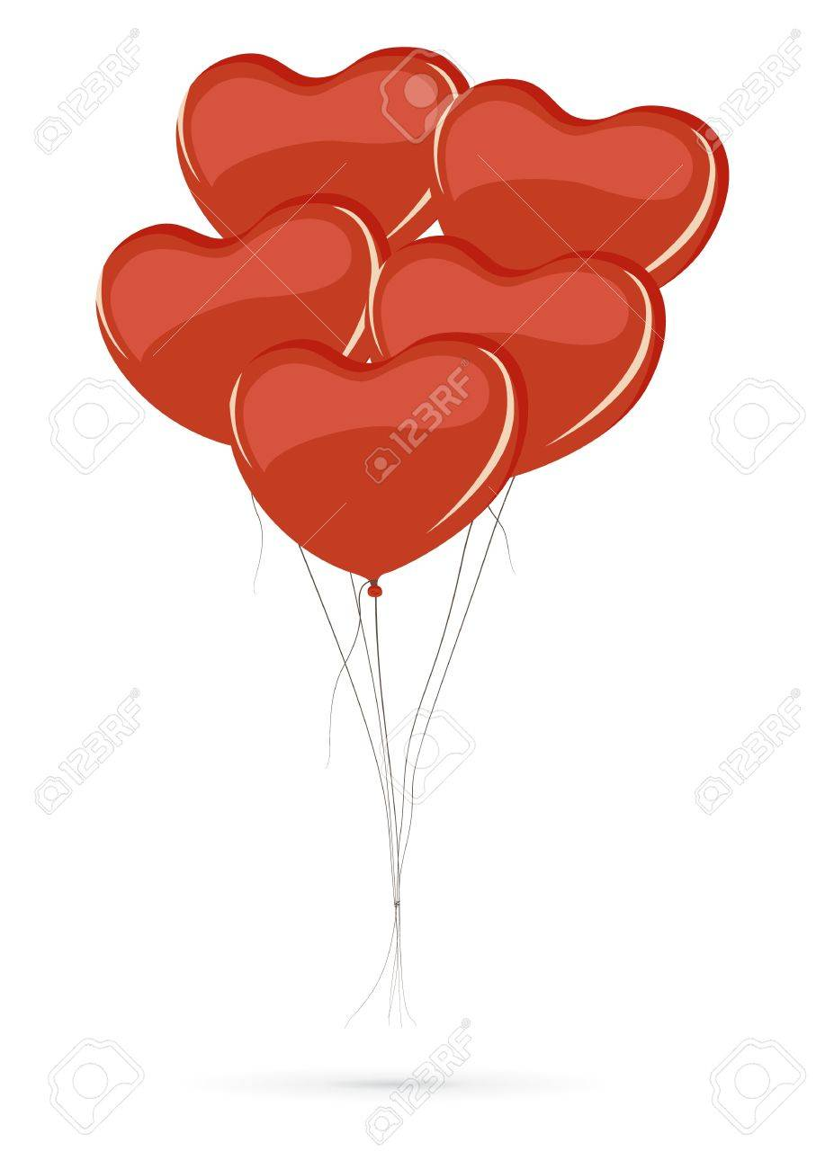 Bunch of heart shaped balloons isolated on white background Stock Vector - 14172610