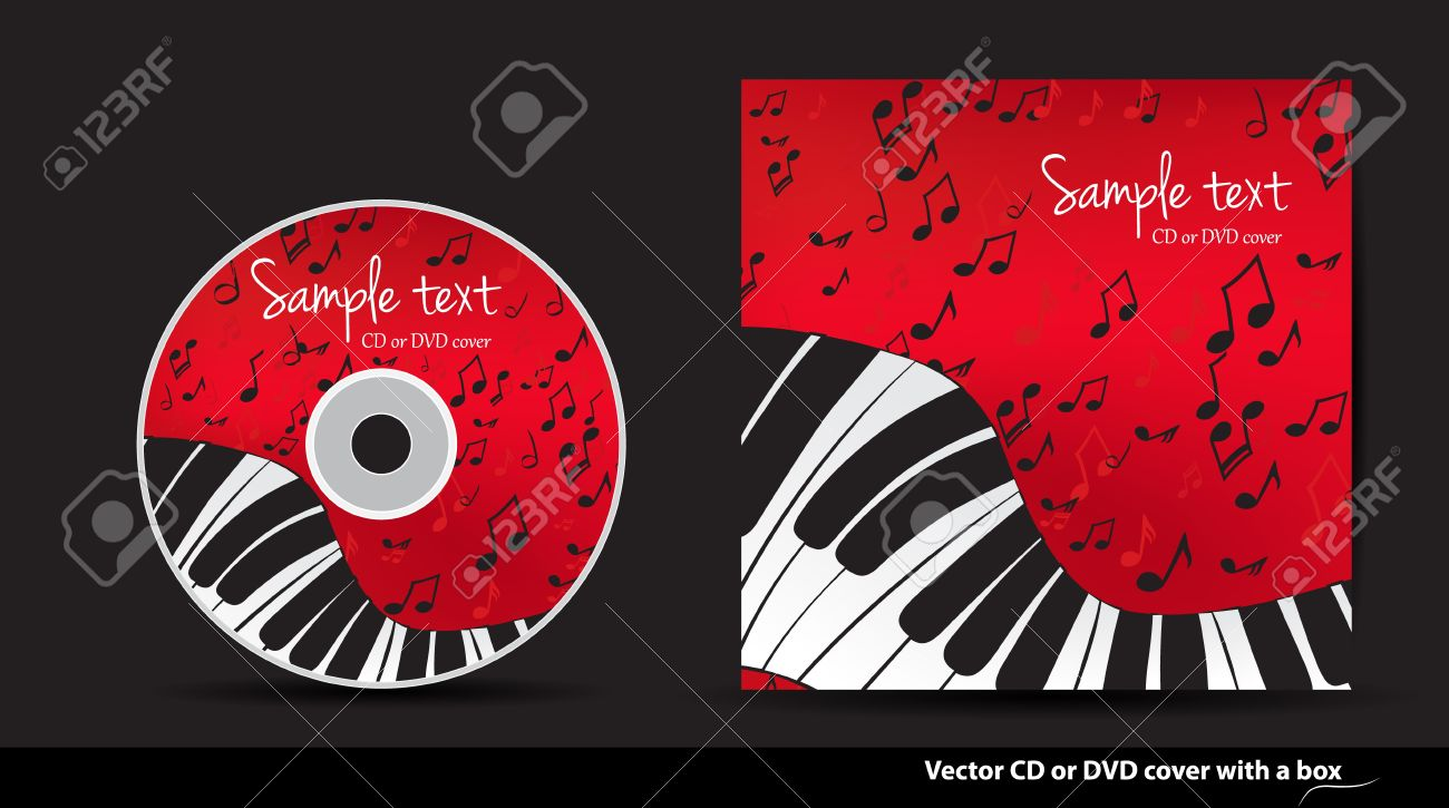 red music vector cd or dvd cover design with piano and notes royalty