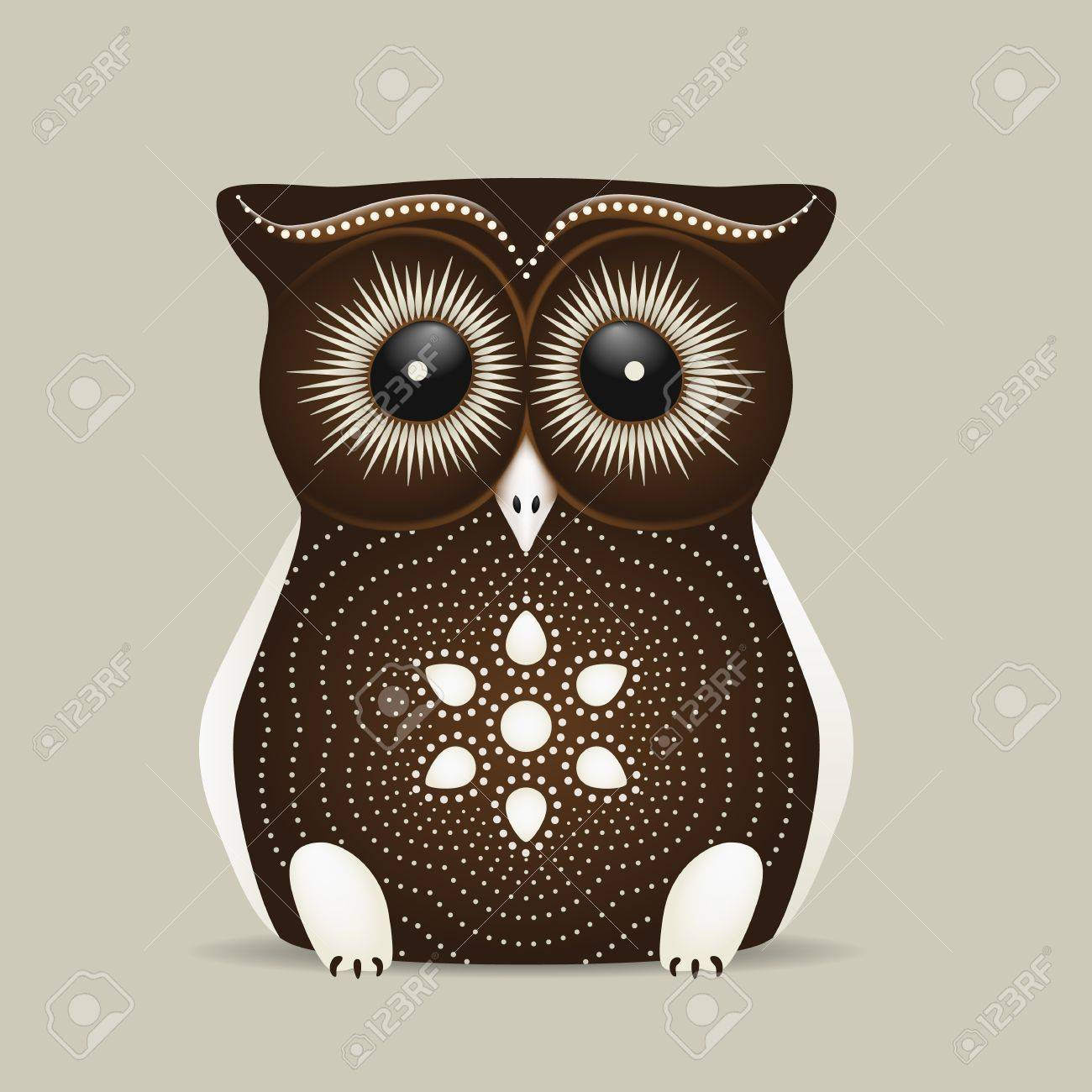 Cute brown owl with big eyes on a grey background Stock Vector - 14172580