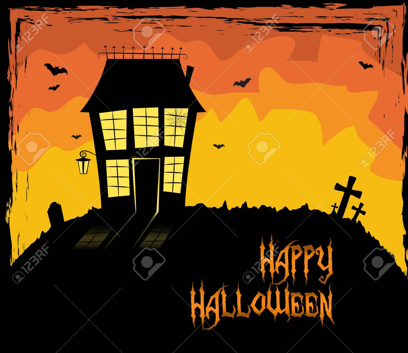 Colorful Halloween them with a scary house Stock Vector - 15062838