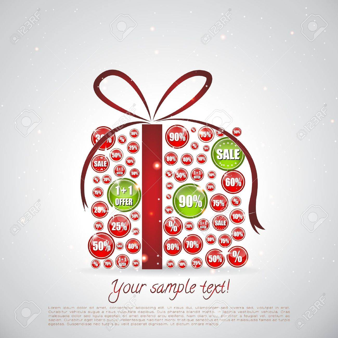 Glittering Christmas gift made of sale banners where some are highligted Stock Vector - 15063031