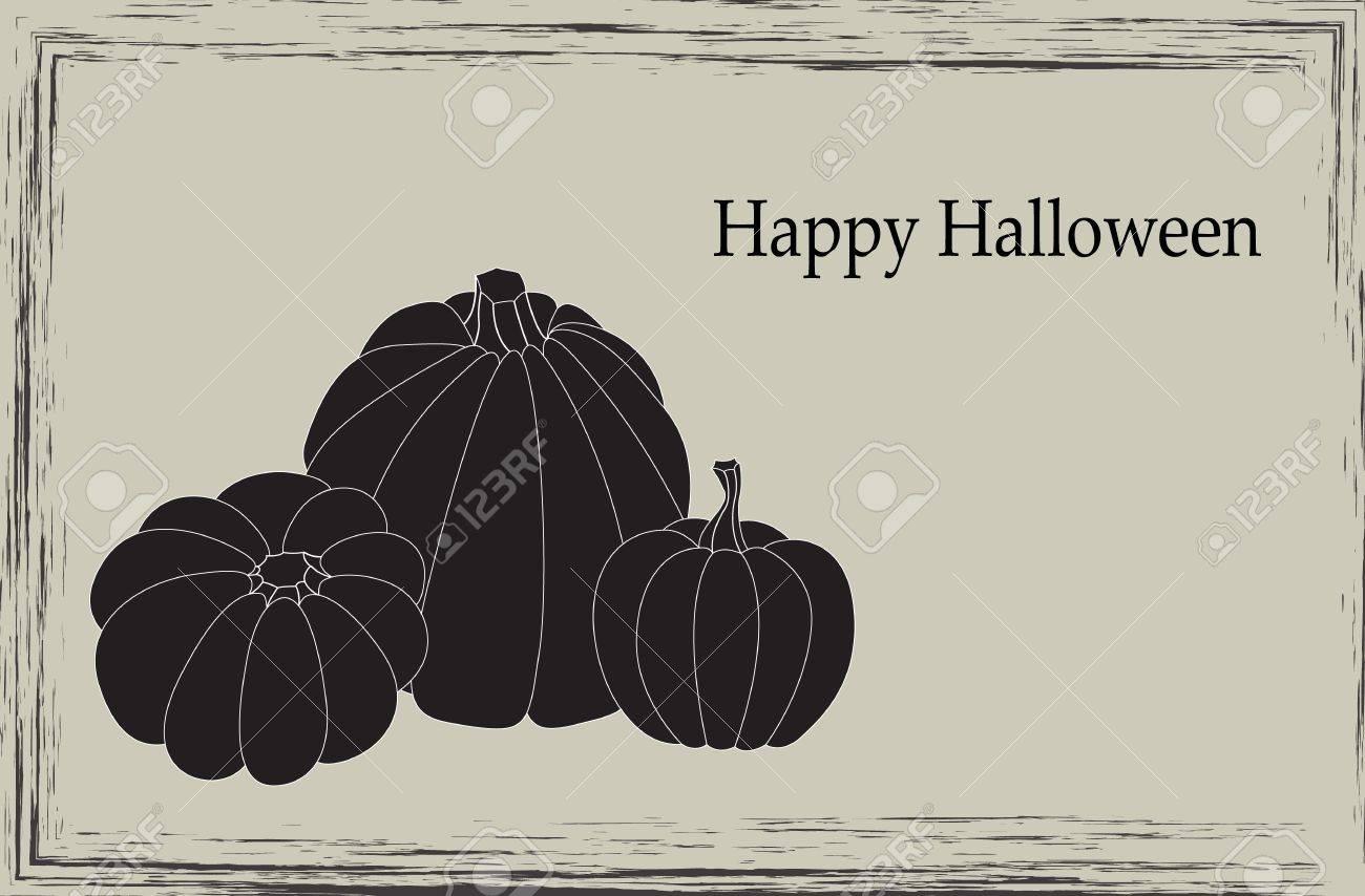 Elegant Halloween card with three pumpkins Stock Vector - 15145058