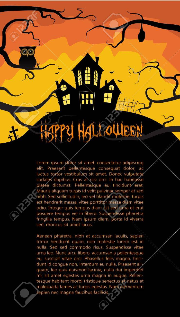 Halloween card with a scary house hidden behind branches Stock Vector - 15145059