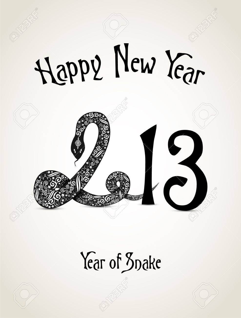 New Year card with snake representing a year of snake Stock Vector - 16188057