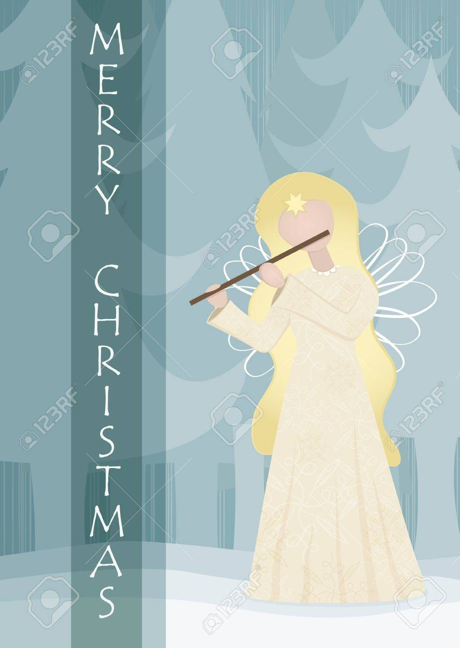 Retro angel playing on a flute in snowy landscape Stock Vector - 16453724