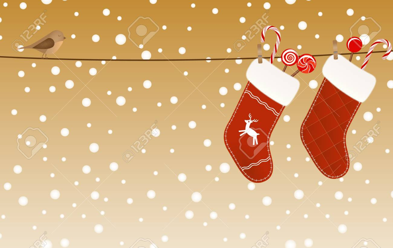 Christmas socks full of candies hanged on a clothesline Stock Vector - 16452202