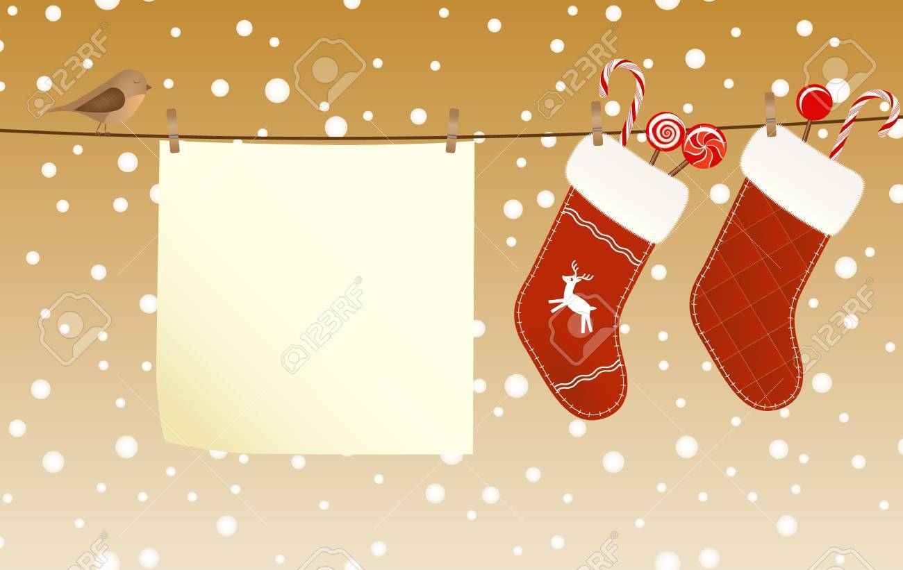 Christmas socks full of candies hanged on a clothesline next to a piece of paper Stock Vector - 16453745