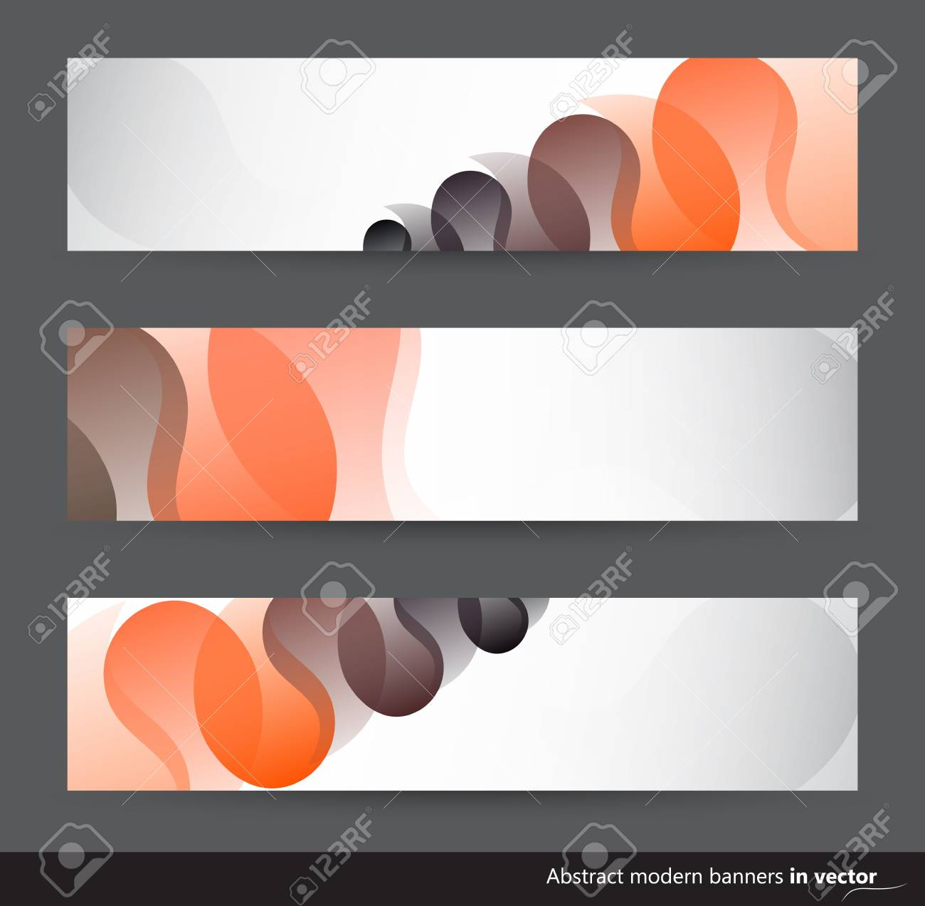 Abstract horizontal banners  with black and orange motives in vector Stock Vector - 17297005