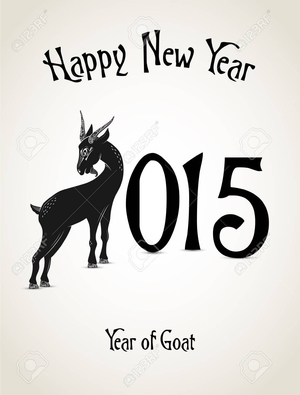 New Year Card With Goat Representing A Year Of Goat Royalty Free