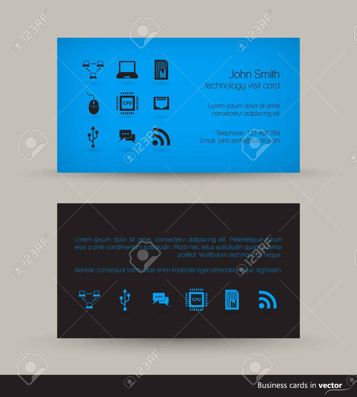 Technology business visit card with flying icons on light background technology business visit card with flying icons on light background in vector stock vector 49971049 reheart Gallery