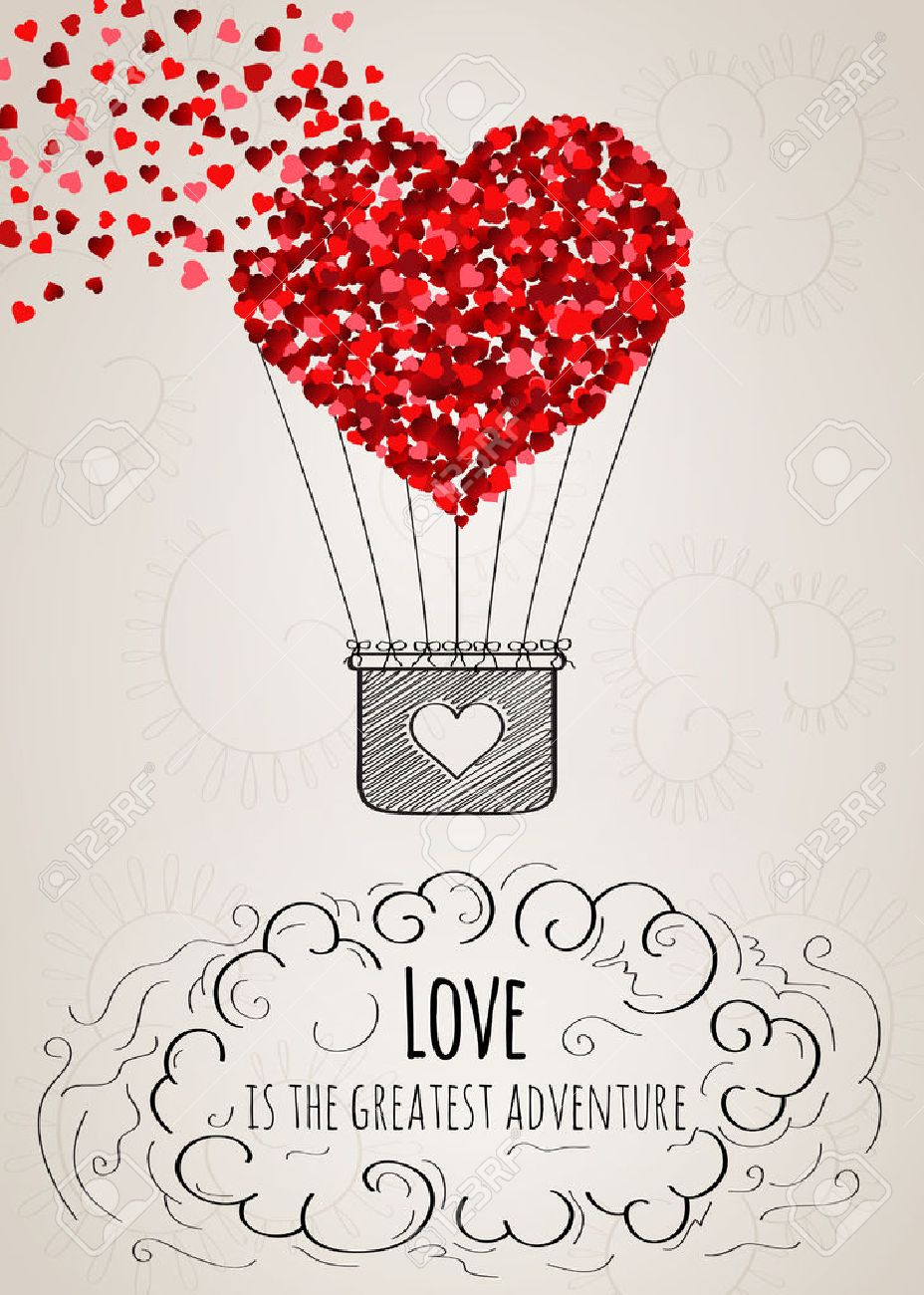 Valentine Card With A Heartshaped Hot Air Balloon Falling Apart – Heart Shaped Valentine Cards