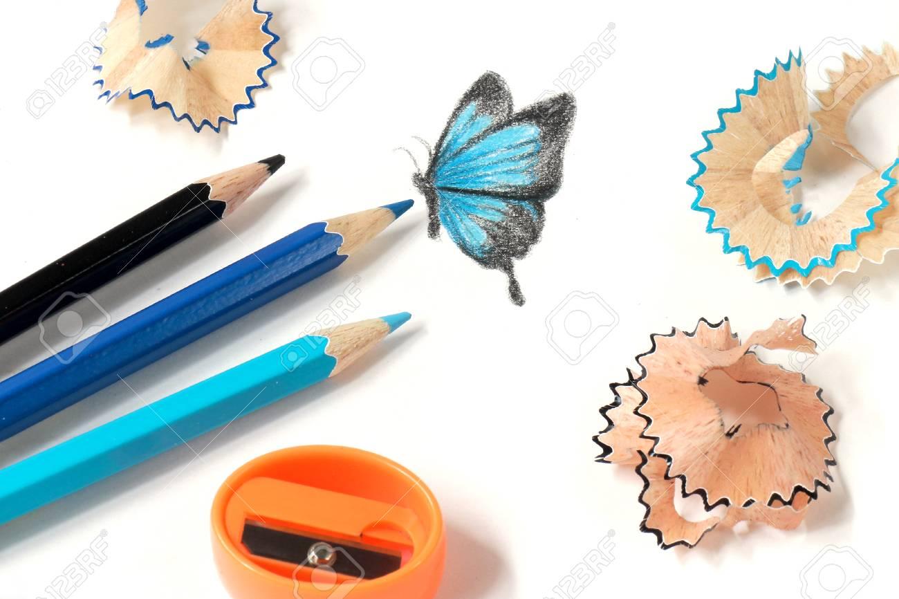 Color De Afilar El Lápiz Y El Dibujo De Mariposa Fotos Retratos