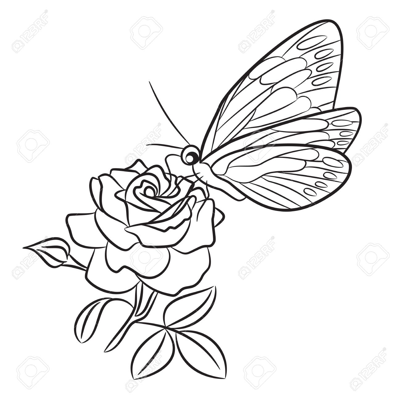 Butterfly On Blooming Rose Small Bud And Leaf Black Easy Drawing Line Tattoo