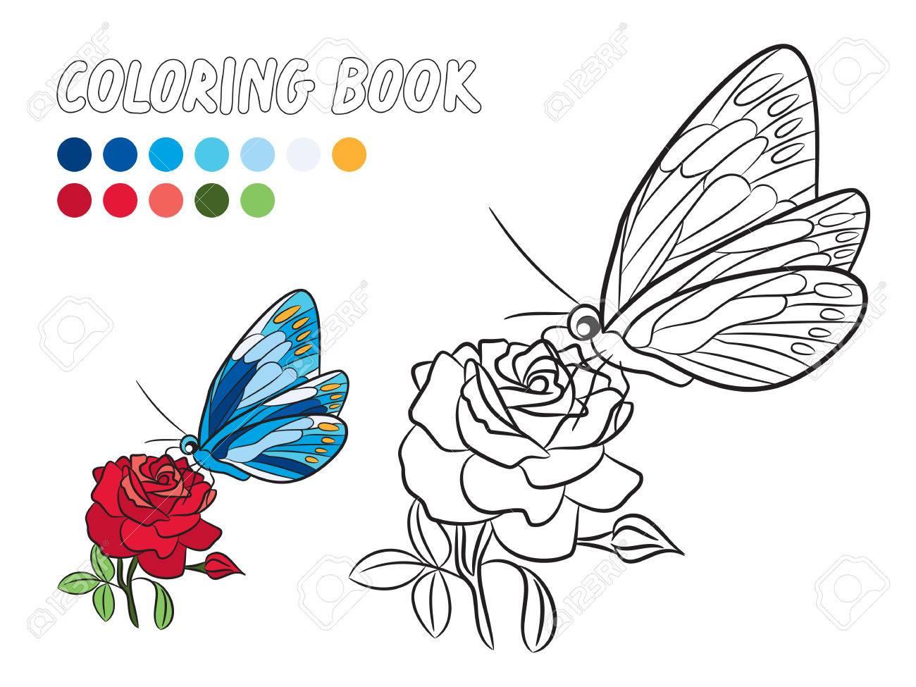 Blauer Schmetterling Mit Gelben Punkt Flügel, Rote Rose Blume Und ...
