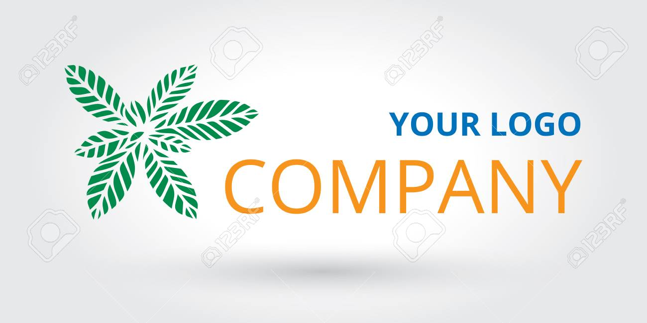 Laser cut leaf logo, leaves icon template with company name,