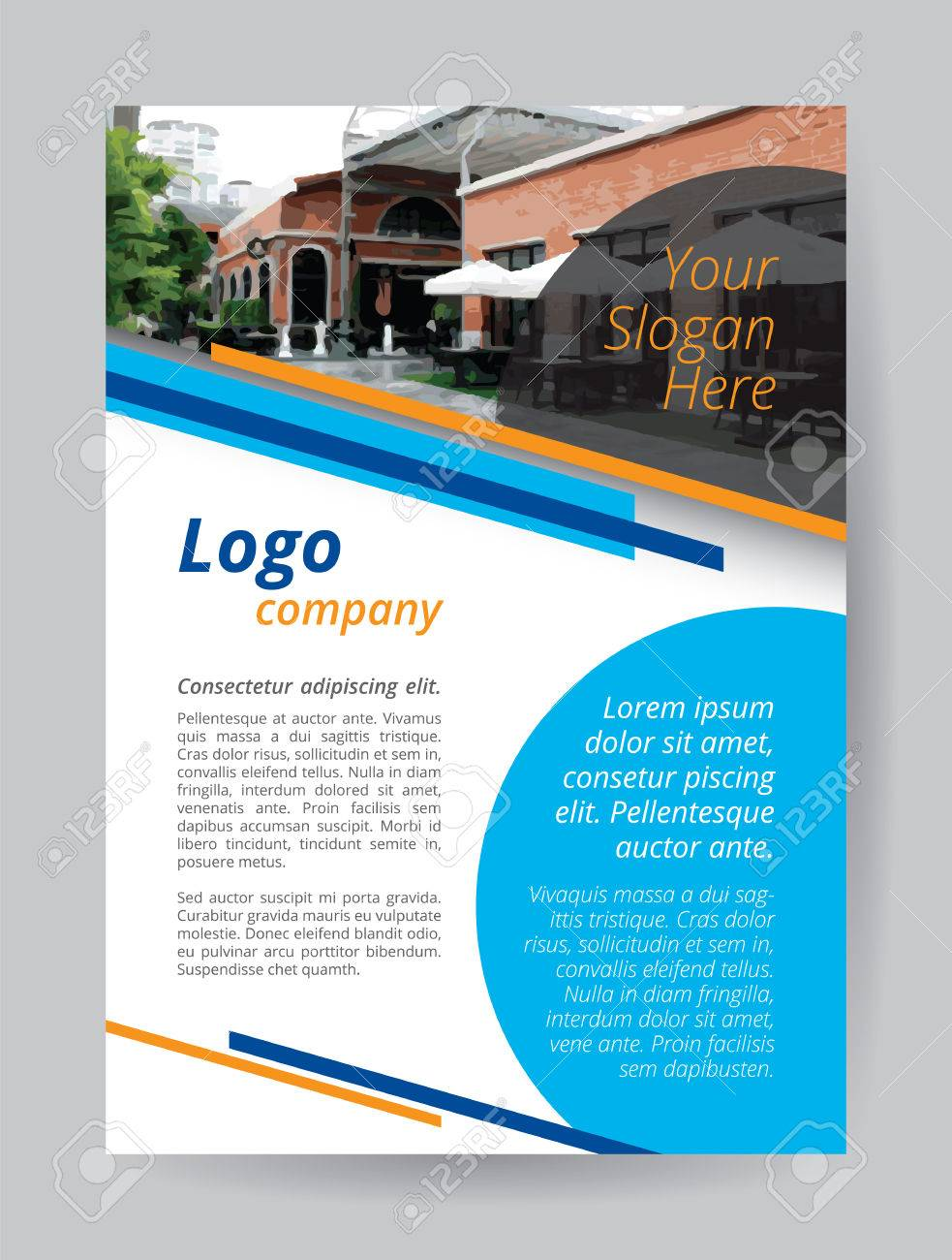 blue logo a4 brochure template orange line and circle cyan textbox