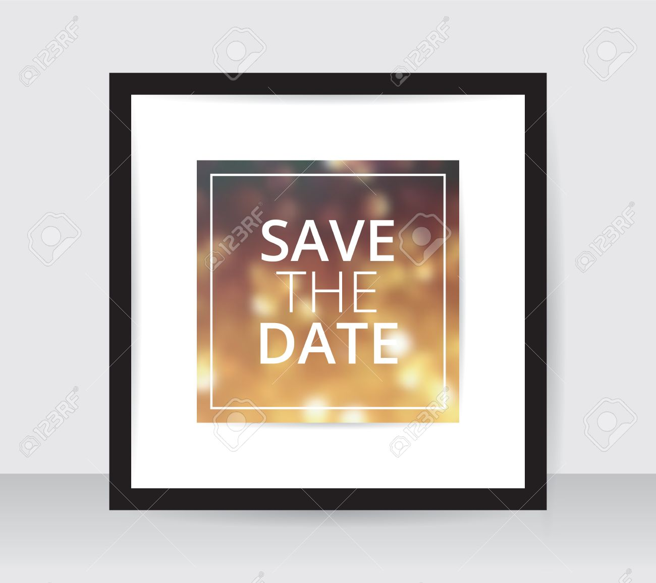 Save The Date Poster Template Gold Blur On White Paper Black – Free White Paper Template