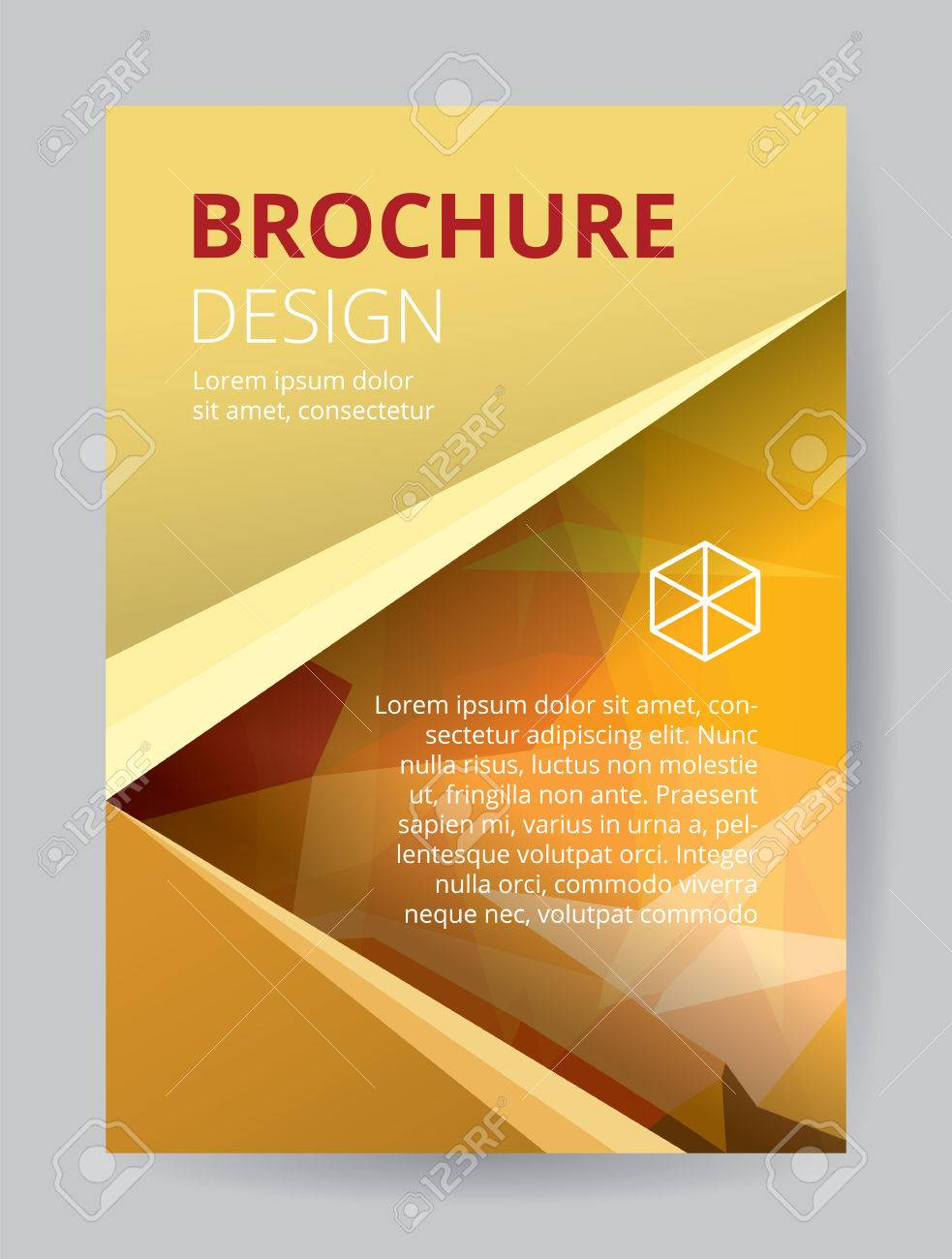 e747b8dfe8462c Flyer template A4 size gold low polygon color theme background. Red orange  yellow company logo