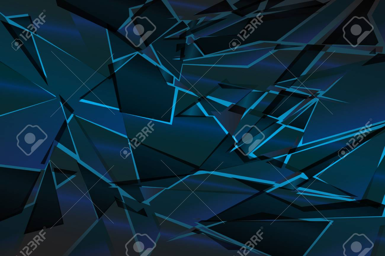 Black Blue Shadow Low Polygon Abstract Background Broken Glass