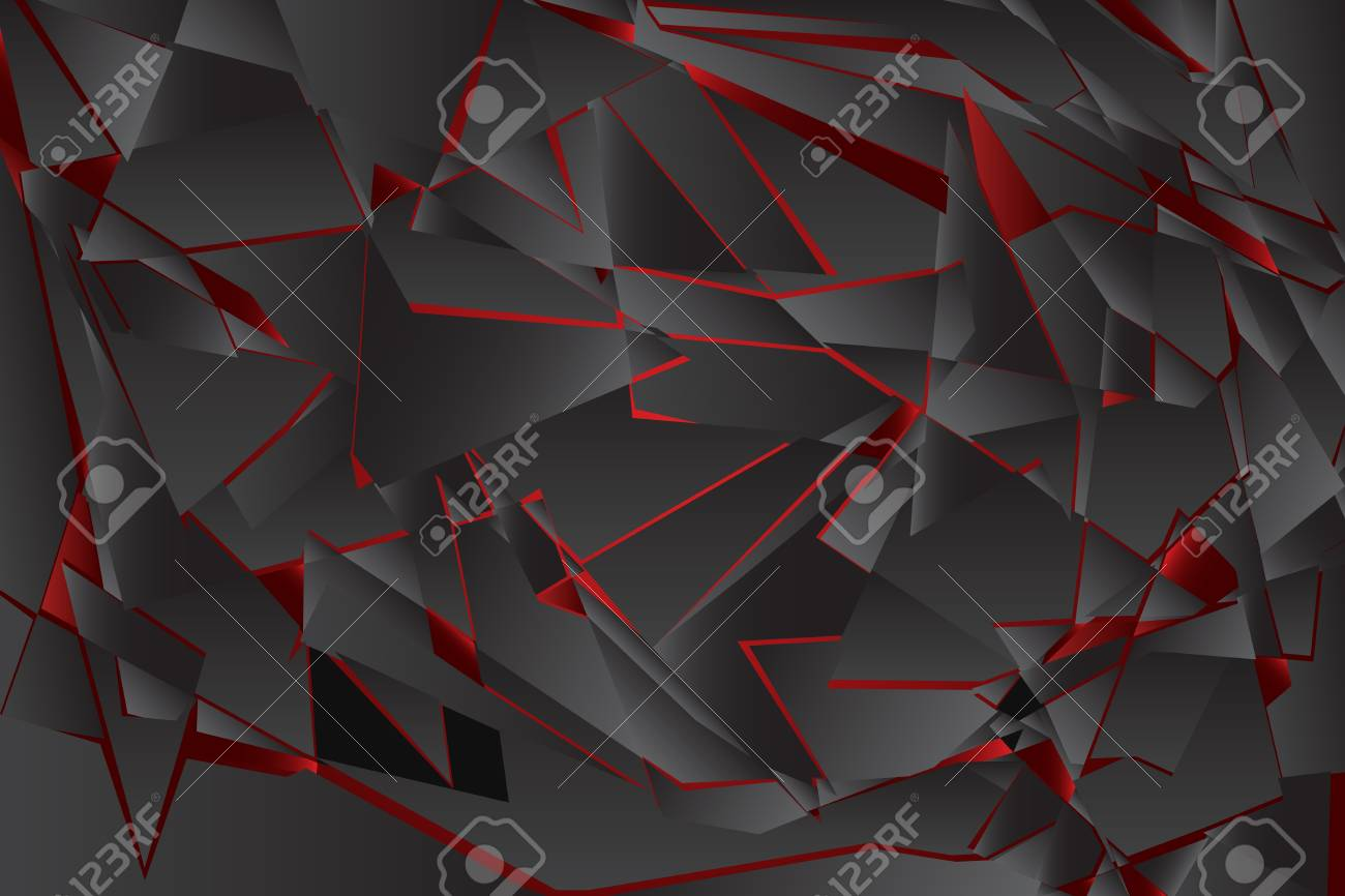 Black Red Shadow Low Polygon Abstract Background Broken Glass