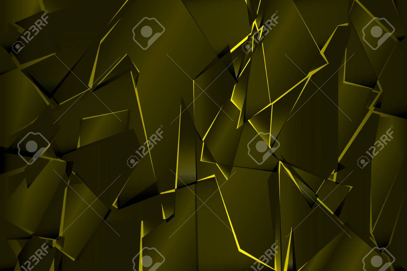 Black Yellow Shadow Low Polygon Abstract Background Broken Glass