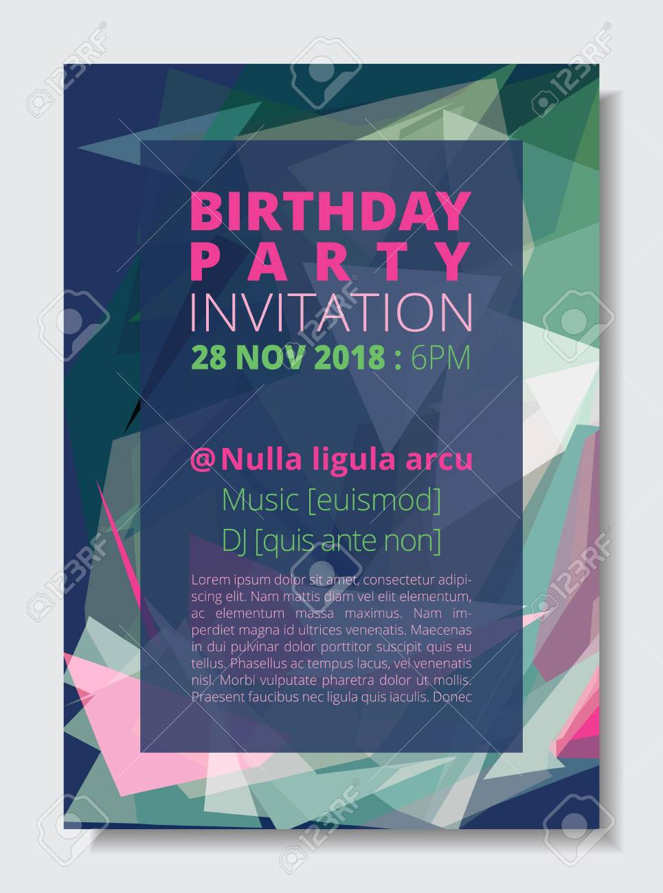 62a1ee3506f748 Birthday party invitation card template A4 size, colorful abstract low  polygon blue background. CMYK