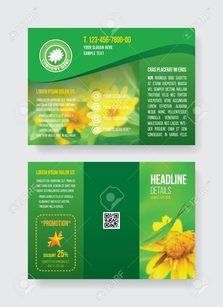 Green A4 fold3 brochure template two side grasshopper on yellow