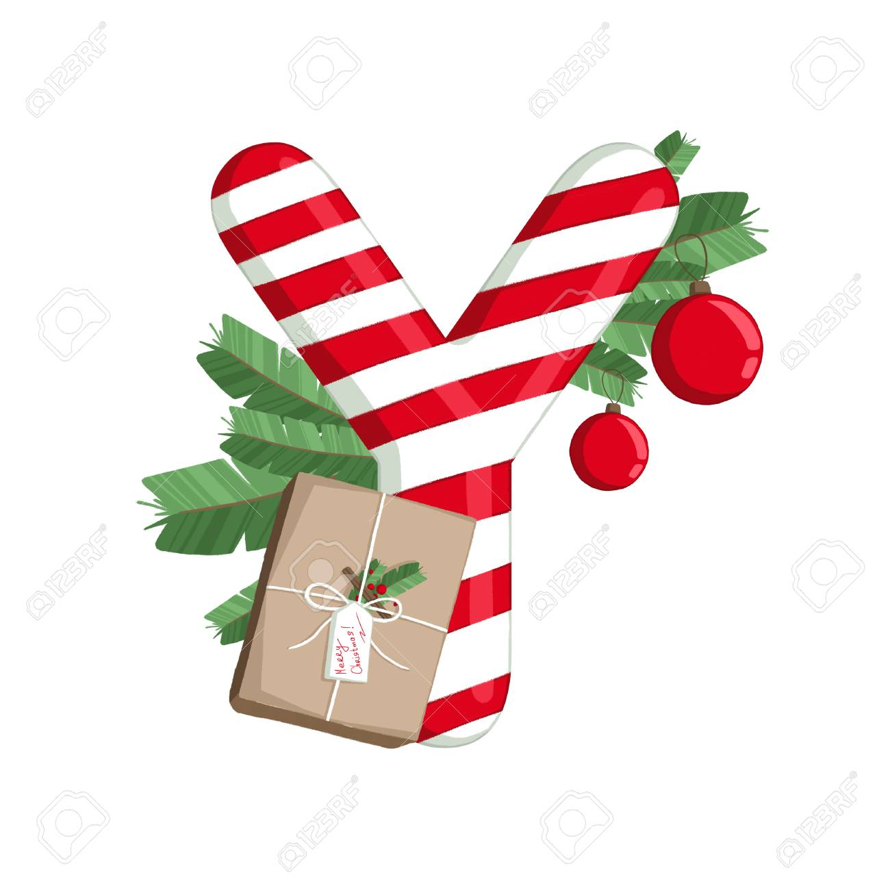 Merry Christmas Letter T.Stock Illustration