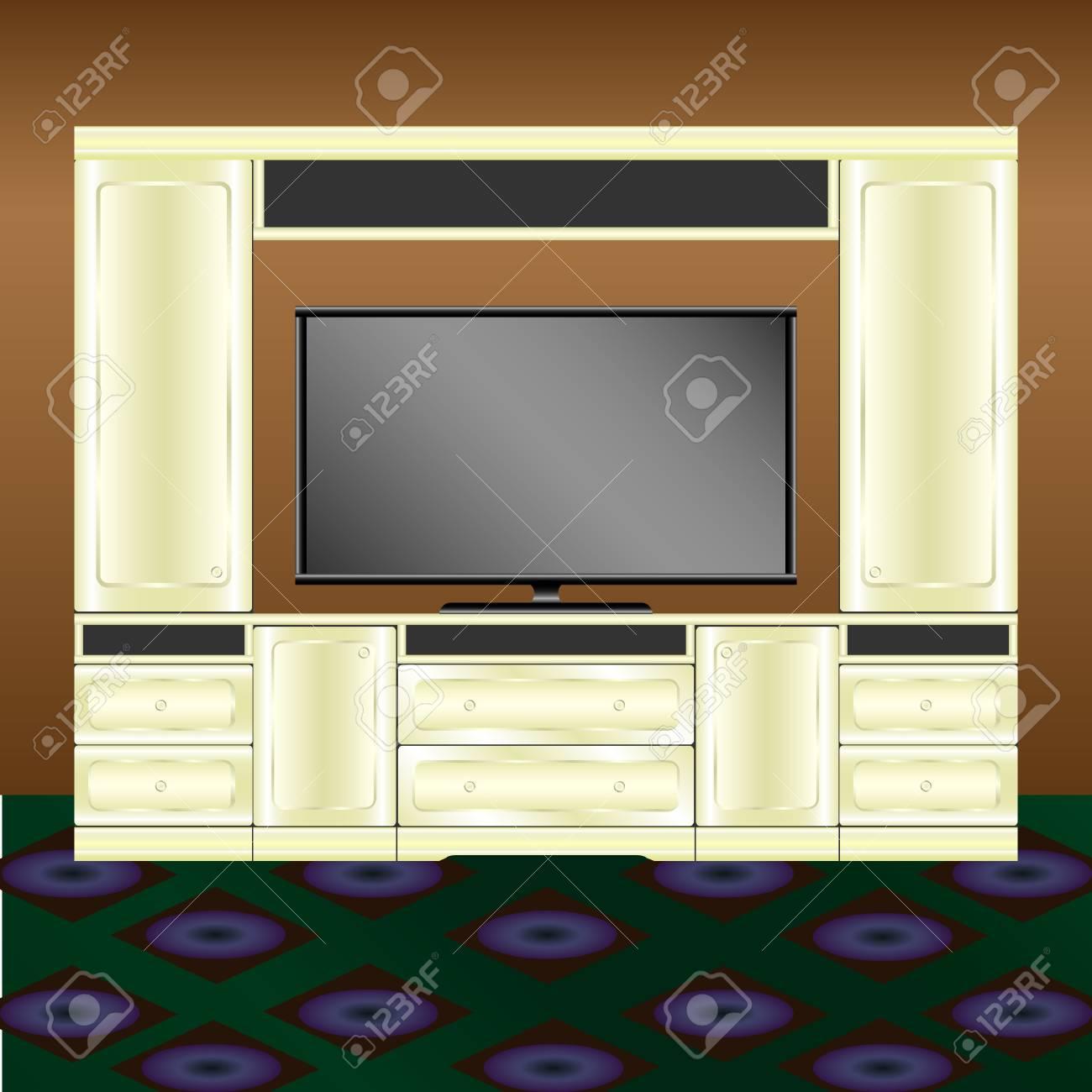 Wohnzimmer Mobel Und Tv Auf Braunem Wandhintergrund Lizenzfrei Nutzbare Vektorgrafiken Clip Arts Illustrationen Image 96085554