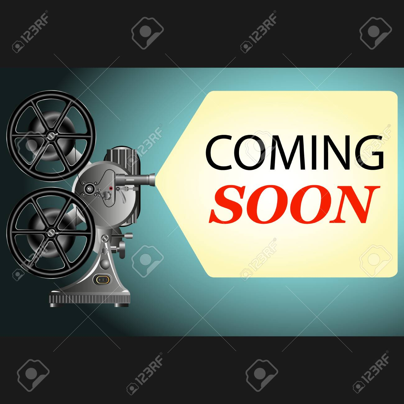 """a projector with the words on the screen """"coming soon"""". Vector Illustration - 98625537"""
