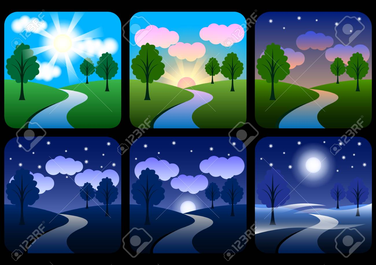 beautiful landscape with gradients. Sunrise, dawn, morning, day, noon, sunset, dusk and night. Sun time icons set. Nature landscapes at different day times. Vector Illustration - 116024807