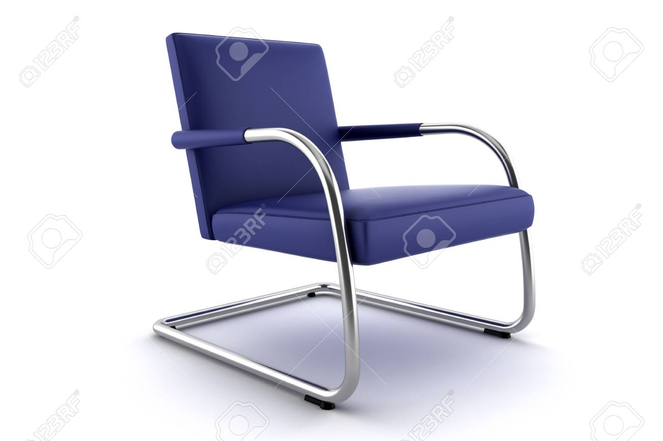 3d blue armchair isolated on white background Stock Photo - 3066130