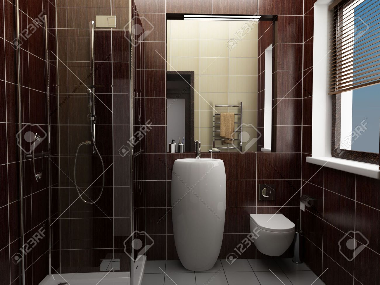 Modernes Badezimmer Mit Braunen Fliesen Lizenzfreie Bilder   3759134