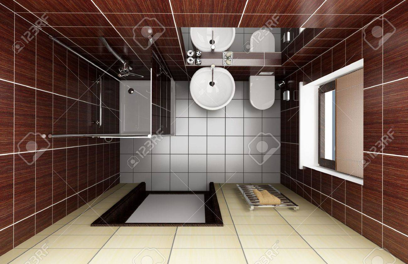 Modern Bathroom With Brown Tiles. Top View Stock Photo, Picture ...