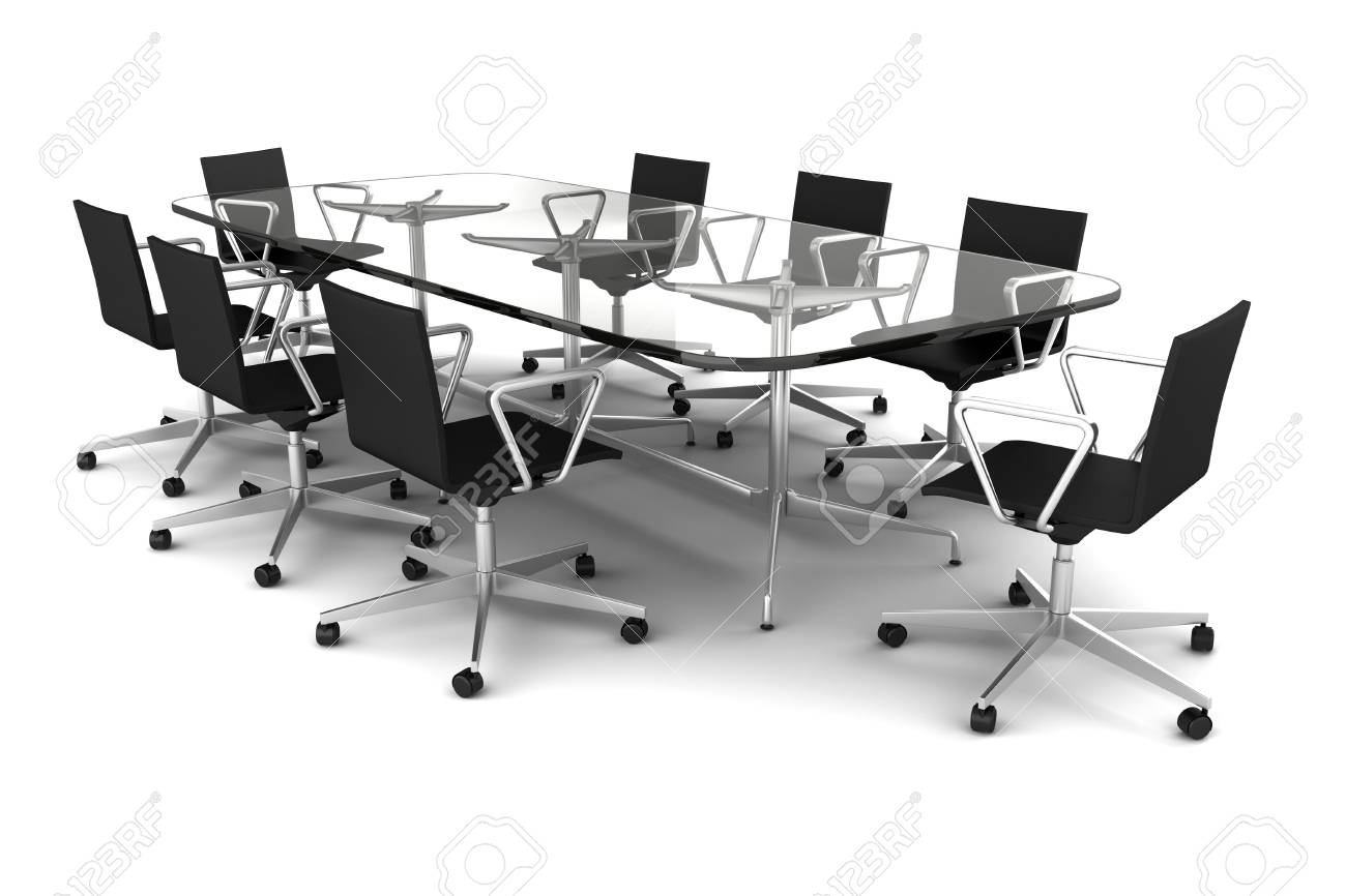 Glass Meeting Table With Black Chairs Isolated On White Stock Photo - Black glass conference table