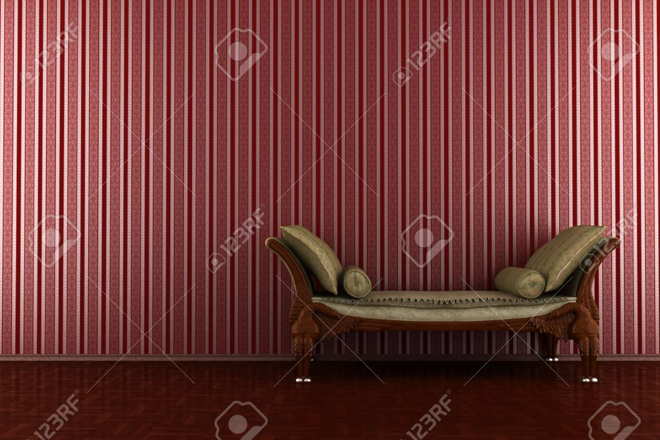Classic Sofa In Front Of Red Striped Wall Stock Photo, Picture And ...