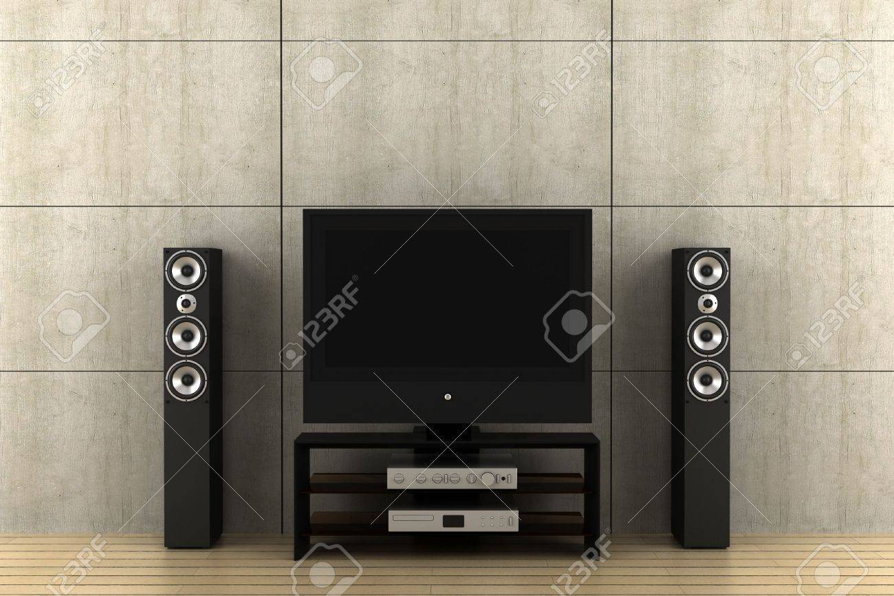 modern home theater speakers. modern tv with speakers in front of gray wall stock photo - 4469813 home theater l