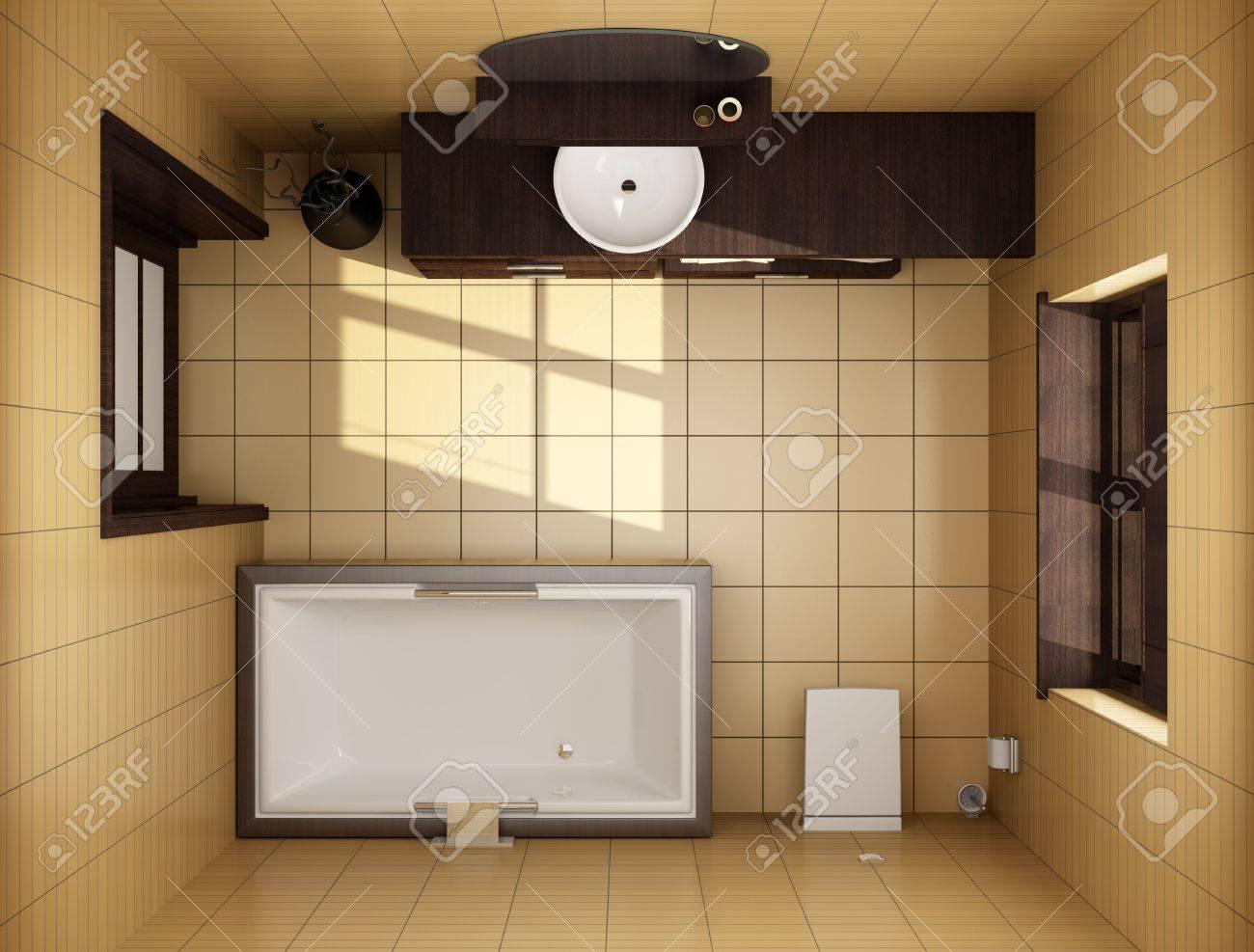 3D Japanischen Stil, Badezimmer Mit Braunen Fliesen. Ansicht Von Oben  Lizenzfreie Bilder