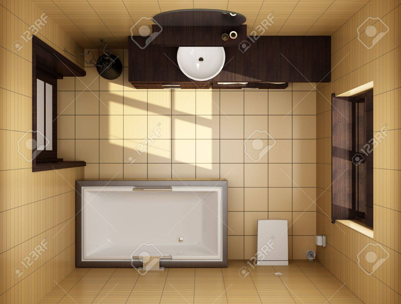 Japanese Style Bathroom 3d Japanese Style Bathroom With Brown Tiles Top View Stock Photo