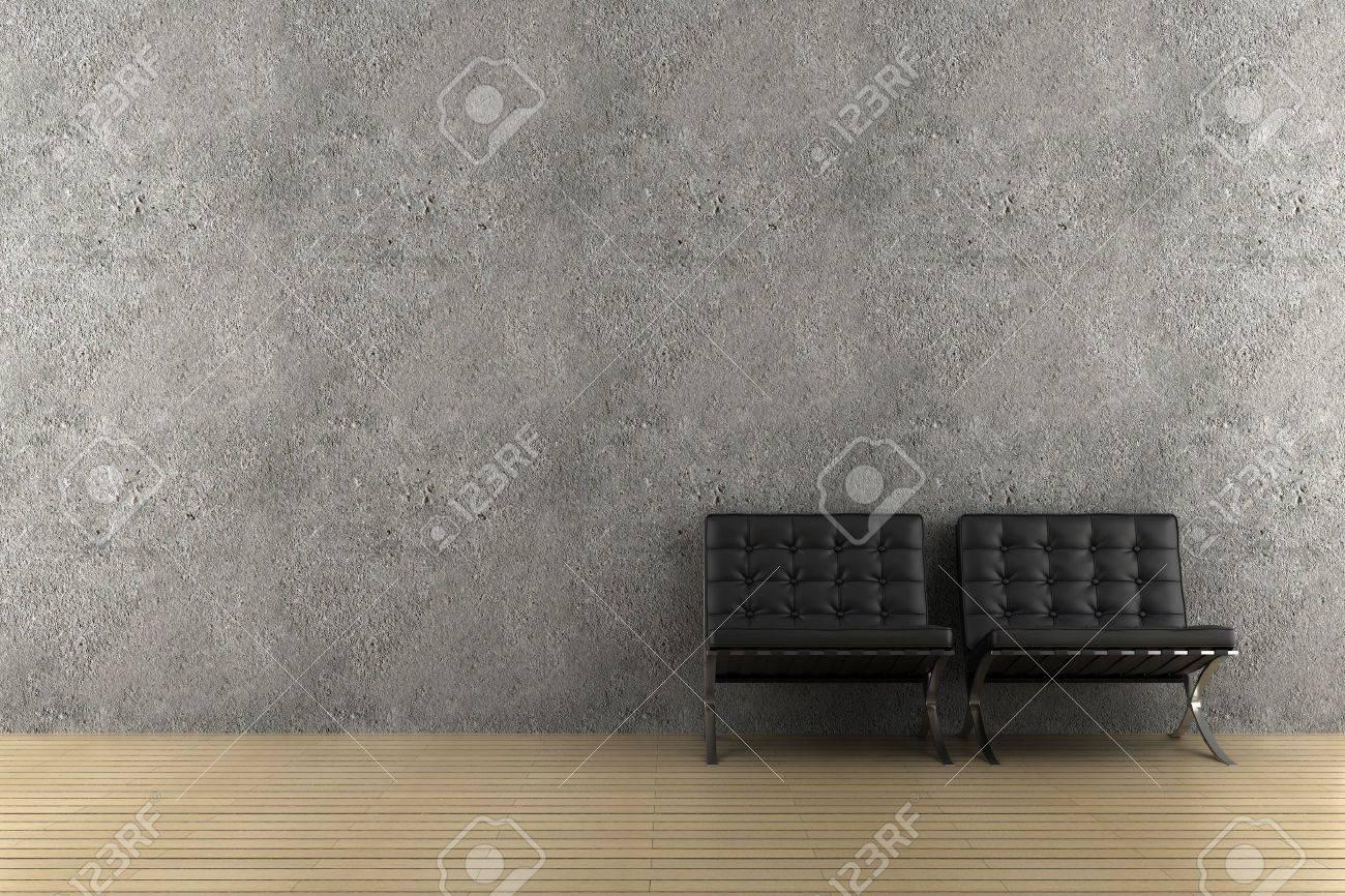 Twee zwarte fauteuils voor grijze muur royalty vrije foto ...