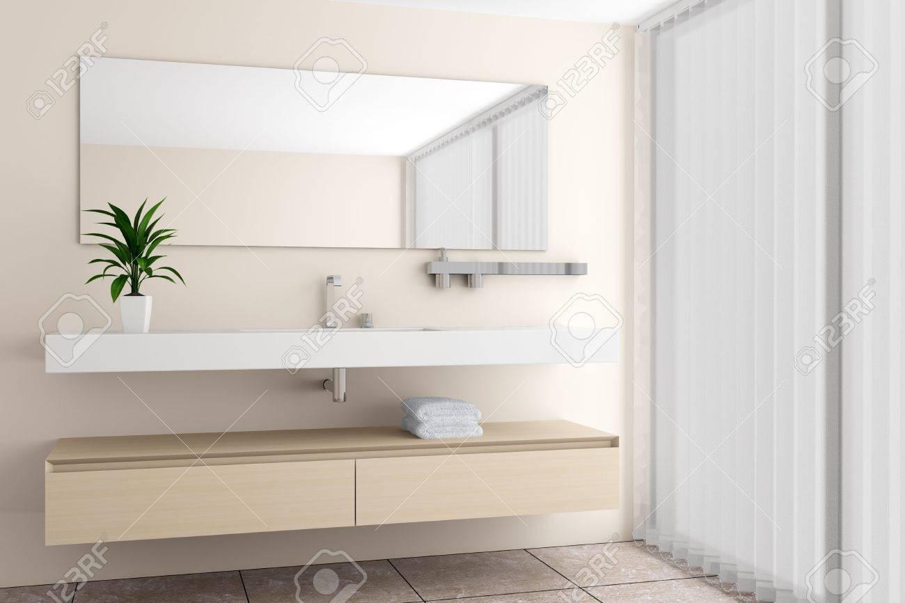 bagno moderno con parete beige foto royalty free, immagini ... - Bagni Moderni Beige