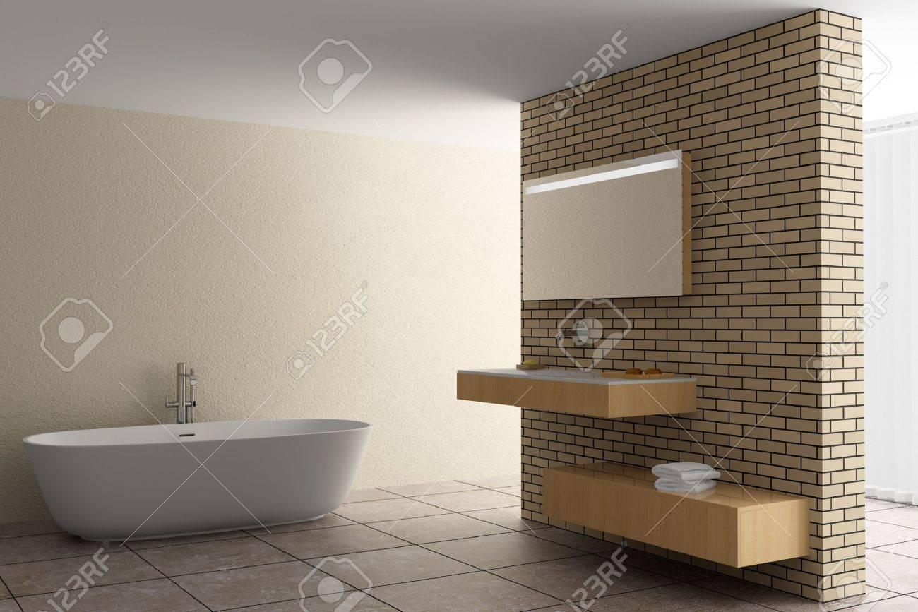 archivio fotografico bagno moderno con un muro di mattoni