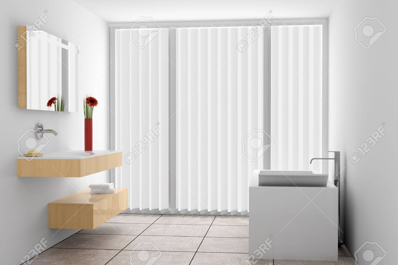 modern bathroom with white walls Stock Photo - 6760028