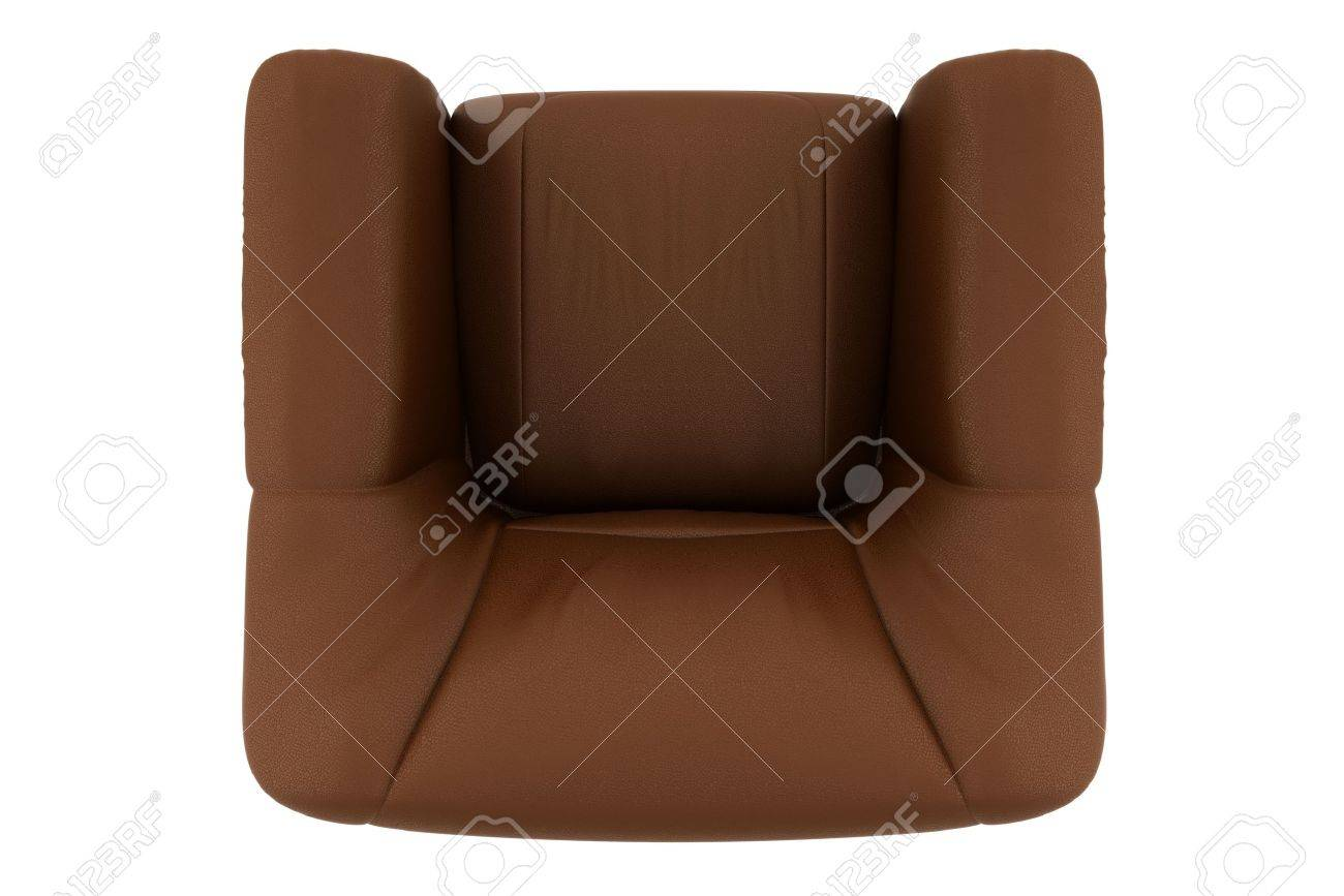 top view of brown leather armchair
