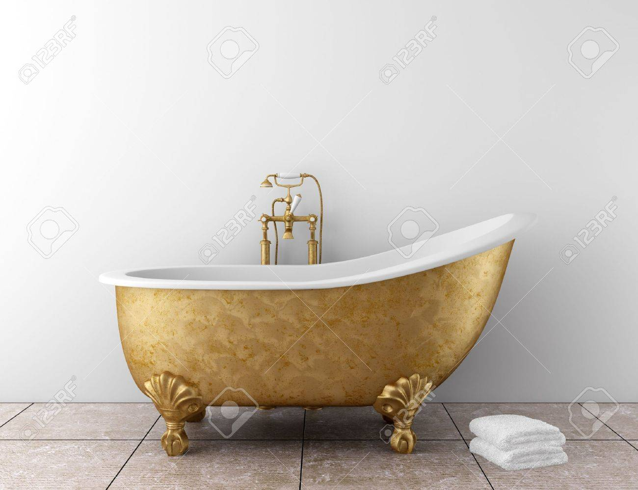 Classic Bathroom With Old Bathtub And White Wall Stock Photo   7174811