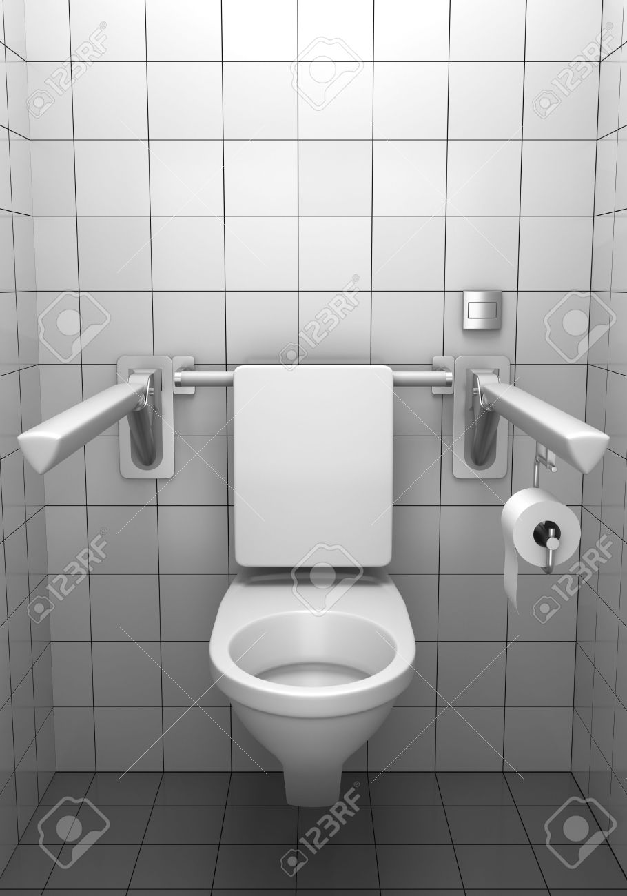 Toilet For Invalids With White Tile On Wall Stock Photo, Picture And ...