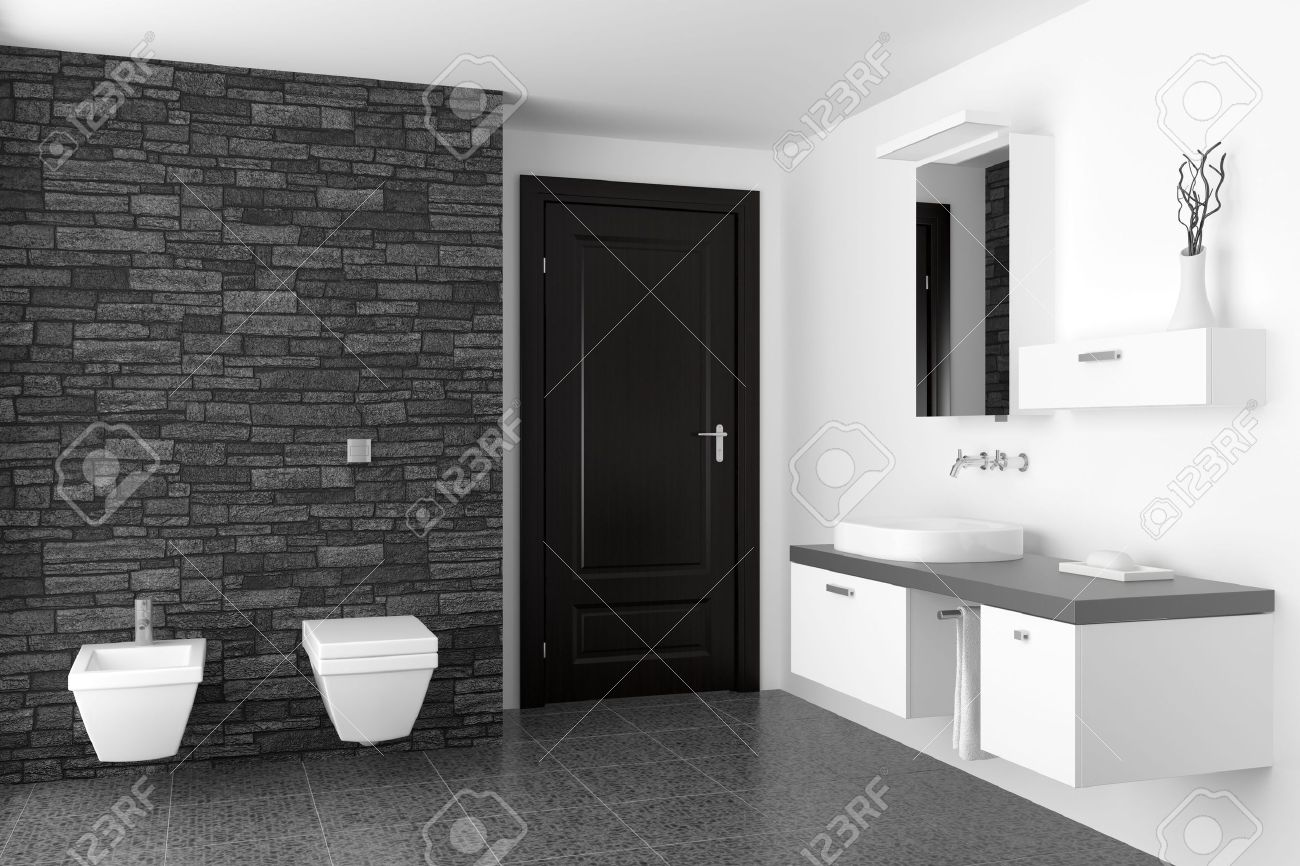 Modern Bathroom With Black Stone Wall And White Equipment Stock ...